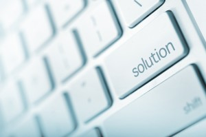 Simple Solution - Keyboard Solution Button. Just Press It! Abstract Technology and Business.