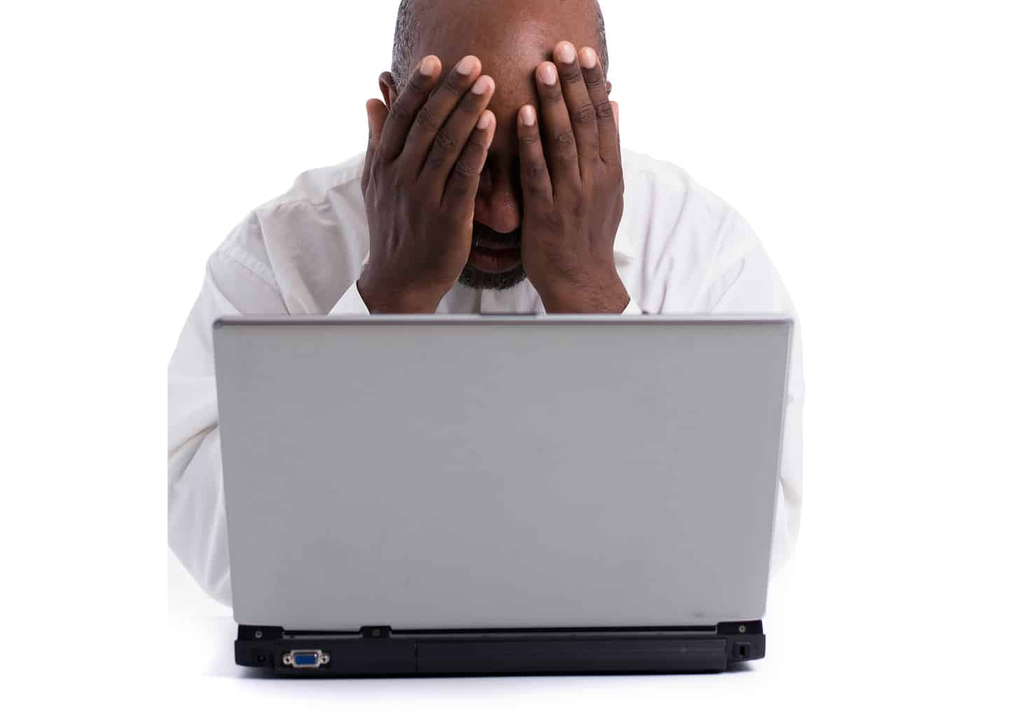 Frustrated man computer network